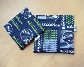 Lg/Md Seattle SeahawksReusable Snack Sandwich Baggie Bag Set with water resistant lining