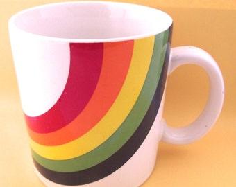 1980s Rainbow Coffee Mug, Vintage Cup with Bold Design (G1)
