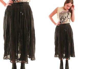 LUCINDA 80s Black Gauzy Cotton Gypsy Bells Drawstring Hippie Voodoo Witchy Boho Chic Maxi Skirt Small Medium S M