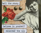 Remember The Now A Conceptual AcEo  2.5 x 3.5 Self Help Artwork Therapy ACEO Rememberance Reflecting Believe In Yourself Alteredhead On Etsy
