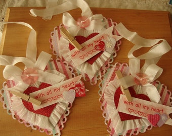 Valentine's Day heart tags party favors hearts gift tags paper art tags gift for friend Shabby Chic tags