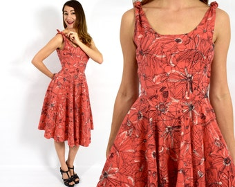 40s Coral Print Party Dress | Novelty Print Cotton Dress | Dancing Dress, Extra Small