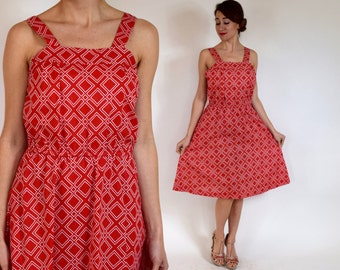 60s Red Print Dress | Cotton Day Dress | Beach Cover Up | Large