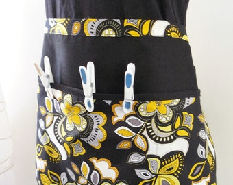 Clothespin bag - Peg bag apron style - yellow and black flowers