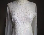 vintage 1970s wedding dress/ 70s wedding gown/ renaissance/ boho/ xs