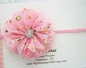 Pink and Gold Baby Headband - Pink and Gold Headband - Baby Headband, Newborn Headband, Toddler Headband, Girls Headband
