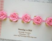 Felt Flower Crown, Baby Flower Crown, Felt Flower Garland, Felt Flower Headband, Pink and Gold Baby Headband, Newborn/Toddler/Baby Headband