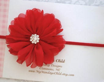 Red Baby Headband, 4th of July Baby Headband, 4th of July Headband, Baby Girl Headband, Baby Headband, Newborn Headband, Toddler Headband