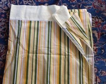 Vintage Flat Sheet Yellow Green Orange Stripes Striped