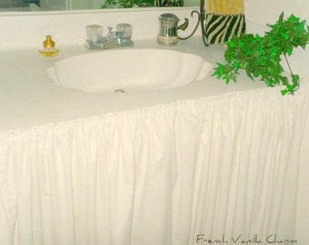 Cottage Shabby Coastal Chic Bathroom Sink Skirt In Muslin Or Washed Linen