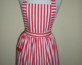 Candy striper apron red and white stripes great for kitchen teas bridal showers cotton fabric. Australian handmade