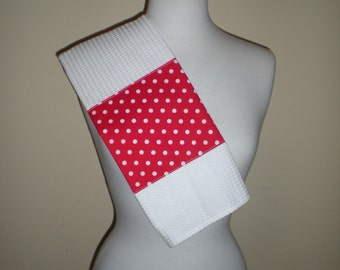 Handmade  white waffle weave tea towel with red white polka dots cotton banner NEW