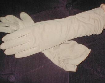 Vintage Tan Cotton Dress Gloves