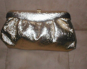 Vintage Gold Leatherette  Evening Purse