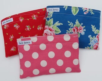Reusable Snack Bag Set Flower Sugar Floral Red Polka Dot Eco Friendly Snack Sacks