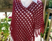 Handmade New Poncho Cranberry - Cranberry Crochet Poncho - New Crocheted Poncho with Fringe