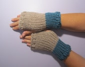 Beige and Teal or Pick Colors Fingerless Gloves - Teal and Beige Hand Knit Fingerless Gloves - Custom Fingerless Gloves