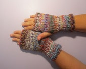 Fun Colors Mix Hand Knit Fingerless Gloves