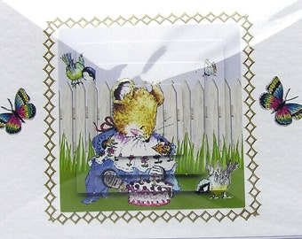 "Hand Crafted 3D Decoupage Card, Blank for any Occasion (2005) ""Wonderful Day"", Birthday Card, Mom Card, Grandma Card, Blue Butterfly, Garden"