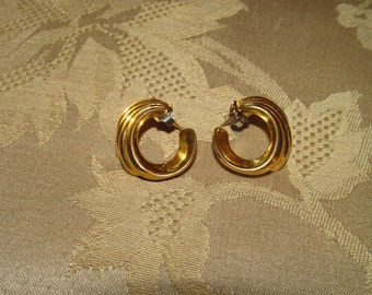 Signed Monet Swirl Gold-tone Metal Post Earrings