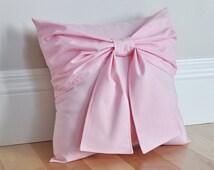 Light Pink Bow Throw Pillow 14x14