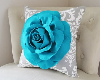 Turquoise Home Decor Turquoise Throw Pillow Rose Decor Gray Damask Pillow Dark Turquoise Flower Home Decor Decorative Pillow Nursery Bedroom