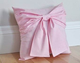Light Pink Bow Throw Pillow 14x14