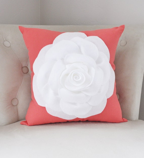 Coral Pillows White Rose Flower on Coral Pillow -Coral Pink- Red Orange Salmon - Rose Pillow