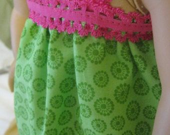 Doll Green and Pink Nightgown; doll clothes for 18 inch doll