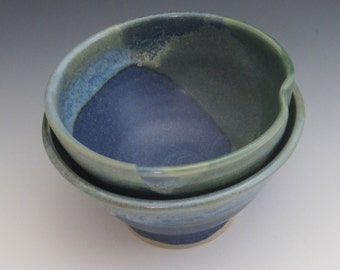 Set of 2 bowls / rice bowl / pottery / cereal bowl / dessert bowl / handmade / ice cream bowl / green / blue
