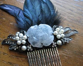 Crystal hair comb   quartz   rose flower   pearl headpiece   flower fascinator   black hair comb