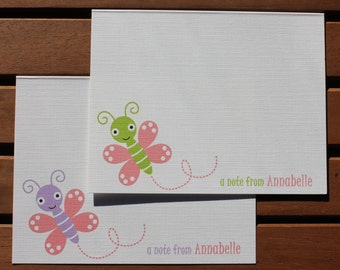 Adorable Baby Bugs Butterfly Personalized Note Card - Birthday, Baby Shower