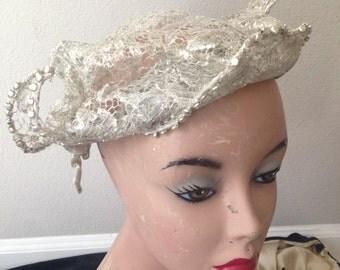 Vintage 1920's Silver Lace Bridal Hat