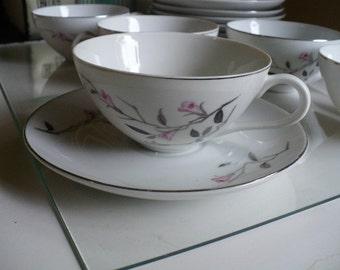 Vintage Tea Cup and Saucer Set White & Pink Flower China Porcelain