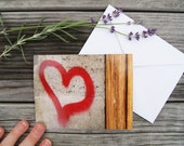 "Paris Photo Notecard - ""Heart Graffiti"" - Single Folded Card with Envelope, Blank Inside"