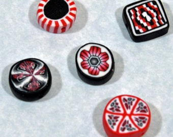 Polymer Clay Beads - Set of 5 in Red, white and Black