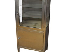 Medical Dental Lab Cabinet of Stainless Steel and Glass, Vintage Industrial