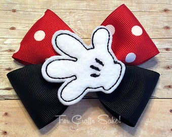 Mouse Bow / Princess Bow / Satin Bow / Girls Bow / Feltie Bow / Mouse Feltie / Glove Feltie / Girls Hair Clip / Girls Barrette / Hair Clip