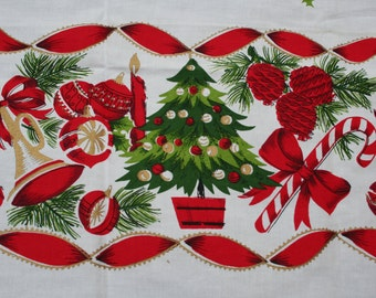 Vintage Christmas Tablecloth Printed Wreaths Bells Ornaments Ribbons 52 x 70 inches