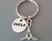Handstamped Uncle Keyring with Hockey Charm