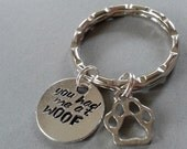 You Had Me at Woof Handstamped Keyring with Paw Charm