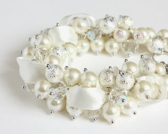 White Silver Crystal Pearl Cluster Bracelet and Earrings Set