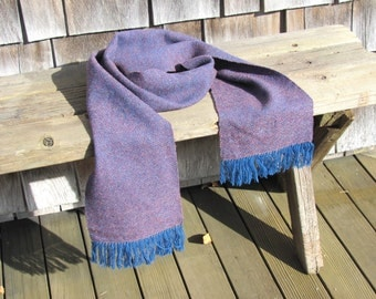 Rustic Mens Womens Wool Fashion Scarf, Fall Winter Mountain Country Log Cabin Woodland Fashion, Purple Blue Shetland Wool Hand Woven Scarf