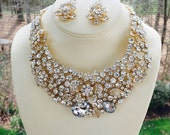 Gold Rhinestone Necklace, Gold Bridal Necklace, Gold Wedding Necklace, Art Deco Necklace, Gatsby Design Necklace, Art Deco Bride,