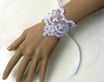 Lace Pearl Bracelet, Lace Bridal Bracelet, Lace Wedding Bracelet, Lace Fabric Bracelet, Lace Cuff Bracelet, Bridal Cuff Bracelet