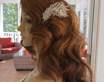 Bridal Feather Comb, Bridal Rhinestone Comb,  Bridal Rhinestone Headpiece, Rhinestone Feather Comb, Crystal Feather Comb