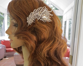 Feather Wedding Hair Comb, Feather Bridal Hair Comb, Rhinestone Feather Hair Comb, Rhinestone Feather Hair Accessory
