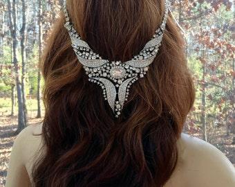 Bridal Chain Headpiece, Bridal Chain Headband, Wedding Chain Headband, Wedding Chain Headpiece, Silver Hair Chain, Bridal Hair Chain