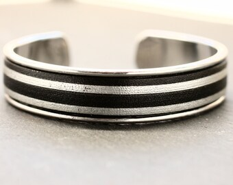 Leather Cuff Leather Bracelet Silver Bracelet Adjustable Bracelet Gift For Her Bracelet Under 40 Striped Jewelry Girlfriend Daughter Friend