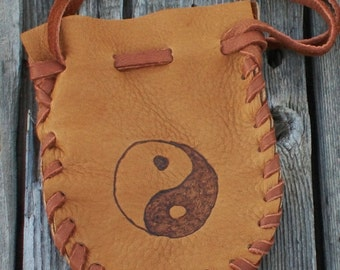 Soft leather pouch with yin yang symbol , Drawstring leather amulet bag